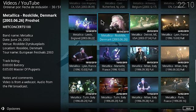 Videos musicales Metallica kodi