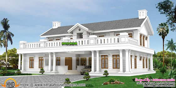 Colonial style villa in kerala house details