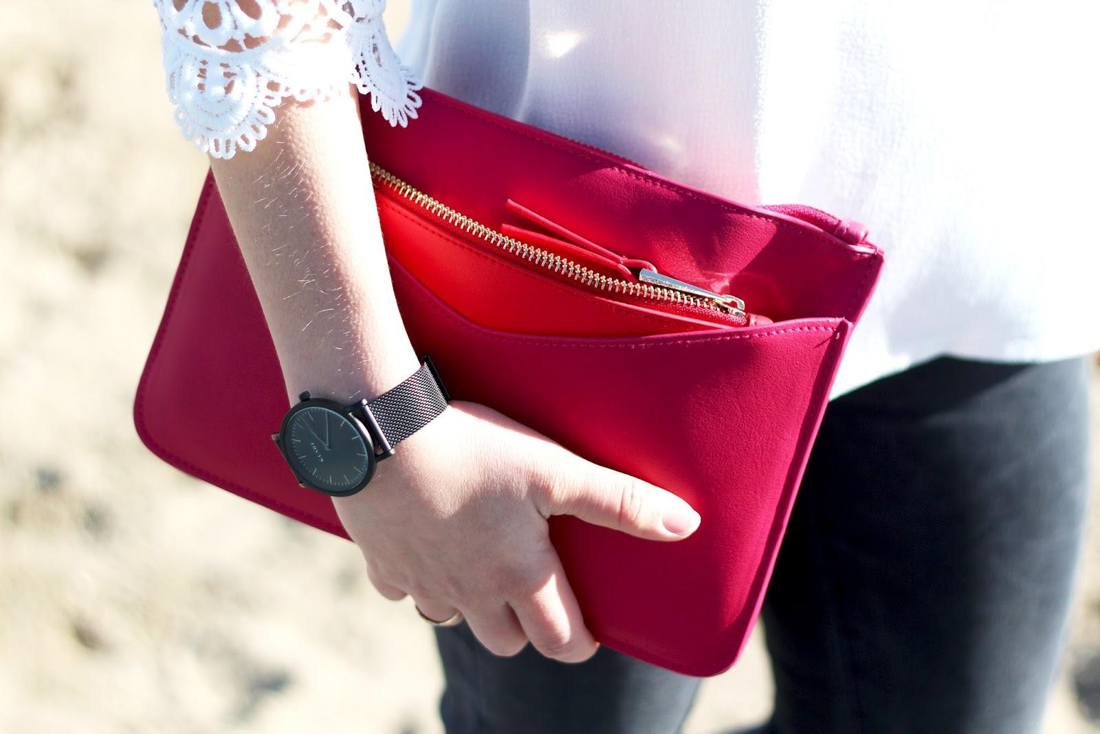 pochette rouge rose
