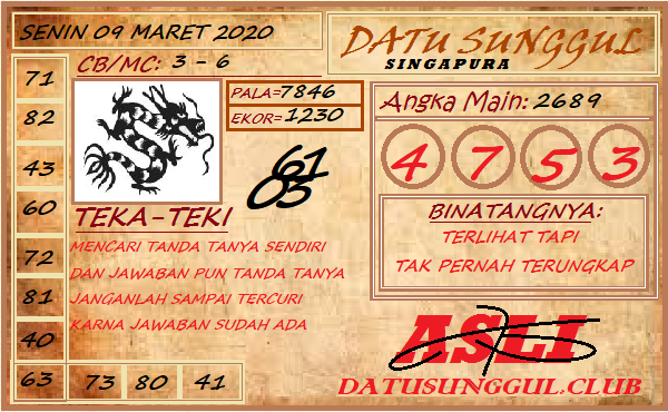 Prediksi Togel Singapura Senin 09 Maret 2020 - Prediksi Datu Sunggul