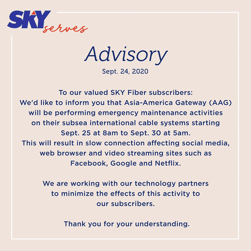 SKY Fiber will be affected by the AAG submarine cable maintenance too