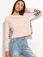 http://es.shein.com/Pink-Contrast-Letter-Print-Panel-Crop-Sweatshirt-p-314102-cat-1773.html?aff_id=8741