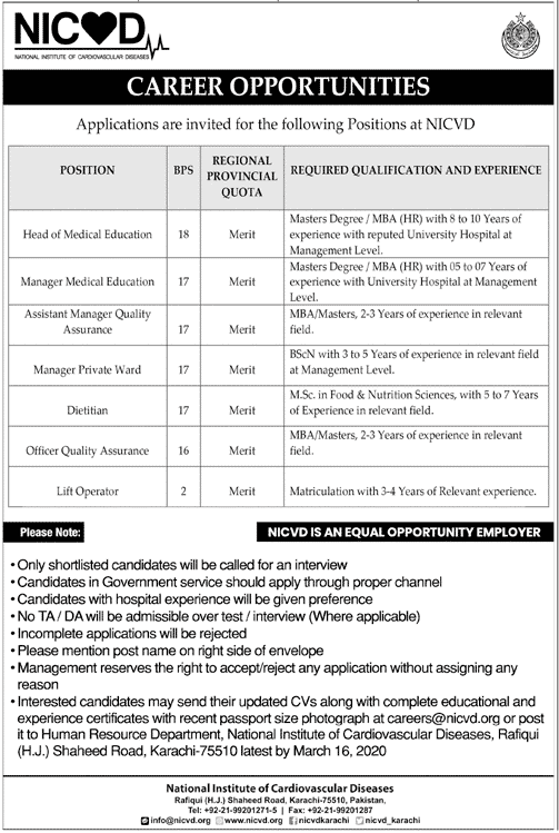 Jobs in National Institute of Cardiovascular Diseases NICVD 2020