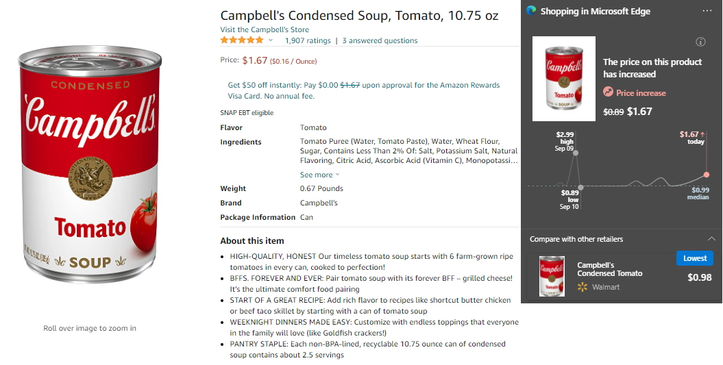 Amazon: Campbell's Condensed Tomato Soup (10.75 oz) on 6 October 2021