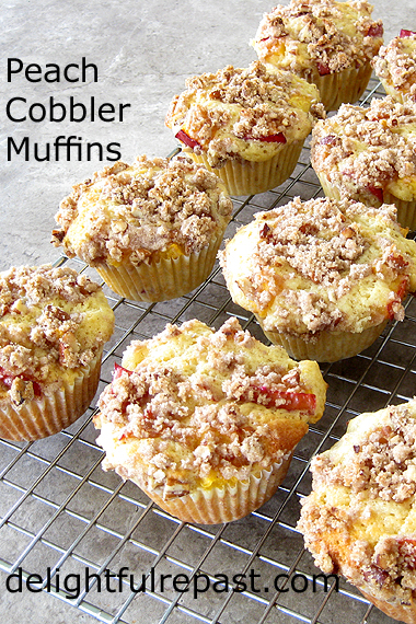 Peach Cobbler Muffins-Pecan Streusel Topping by Delightful Repast