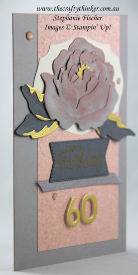#thecraftythinker #stampinup #cardmaking #peonydies #alteringadiecut , Peony Dies, 60th birthday card, Altering a Die Cut, Tasteful Labels, Stampin' Up! Demonstrator Stephanie Fischer, Sydney NSW