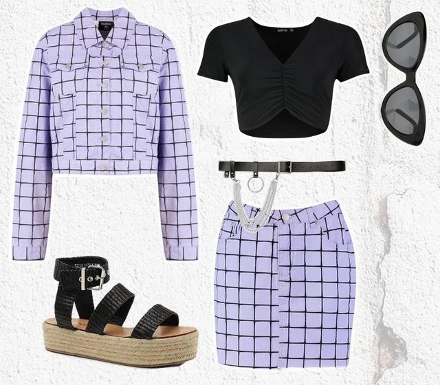Outfit met lila kleurig pakje van spijkerjas en spijkerrok co-ord set Boohoo mode blogger inspiratie pastel grunge zomer look