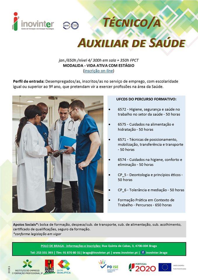 Curso Vida Ativa remunerado – Braga (Auxiliar de Saúde)