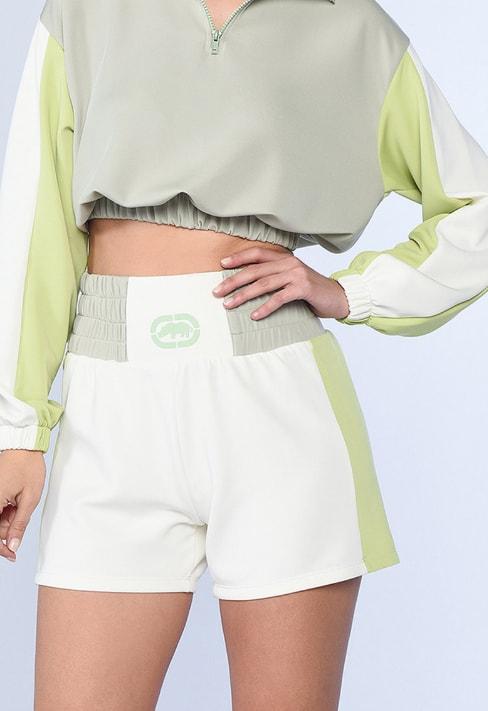 Pantaloni scurti cu talie inalta si model colorblock Venus