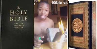 """""""Miserable Death Await You Nigerians Reacts As Man Set Quran and Bible on Fire"""