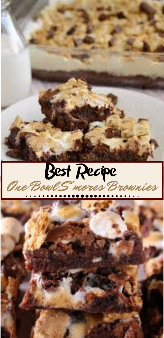 One Bowl S'mores Brownies #desserts #cakerecipe #chocolate #fingerfood #easy