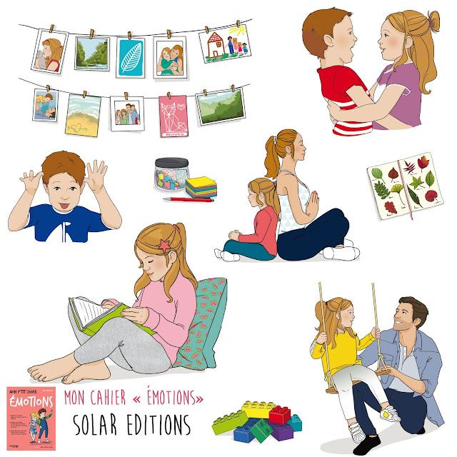 """illustration se trouvant dans le cahier """"émotions"""" des éditions solar, ici traitant de l'éducation positive et de la gestiondes émotions des enfants. mieux vivre ensemble"""
