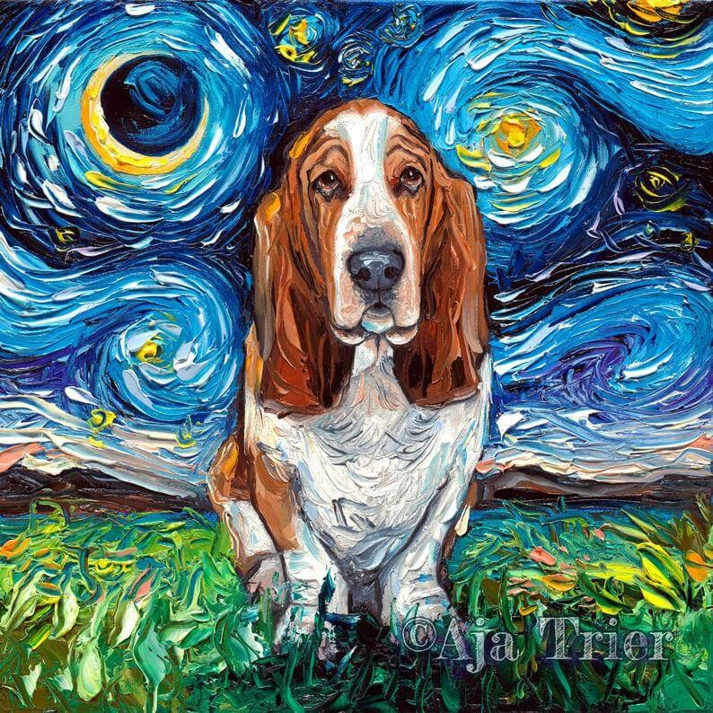 01-Basset-Hound-Aja-Trier-The-Starry-Night-Dog-Paintings-www-designstack-co