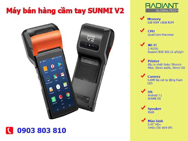 Máy bán hàng POS cầm tay SUNMI V2 cho mọi cửa hàng