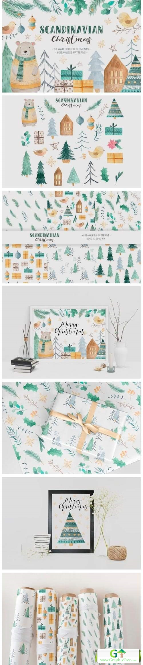 Scandinavian Watercolor Christmas 6011128 [Stock Image] [illustrations]