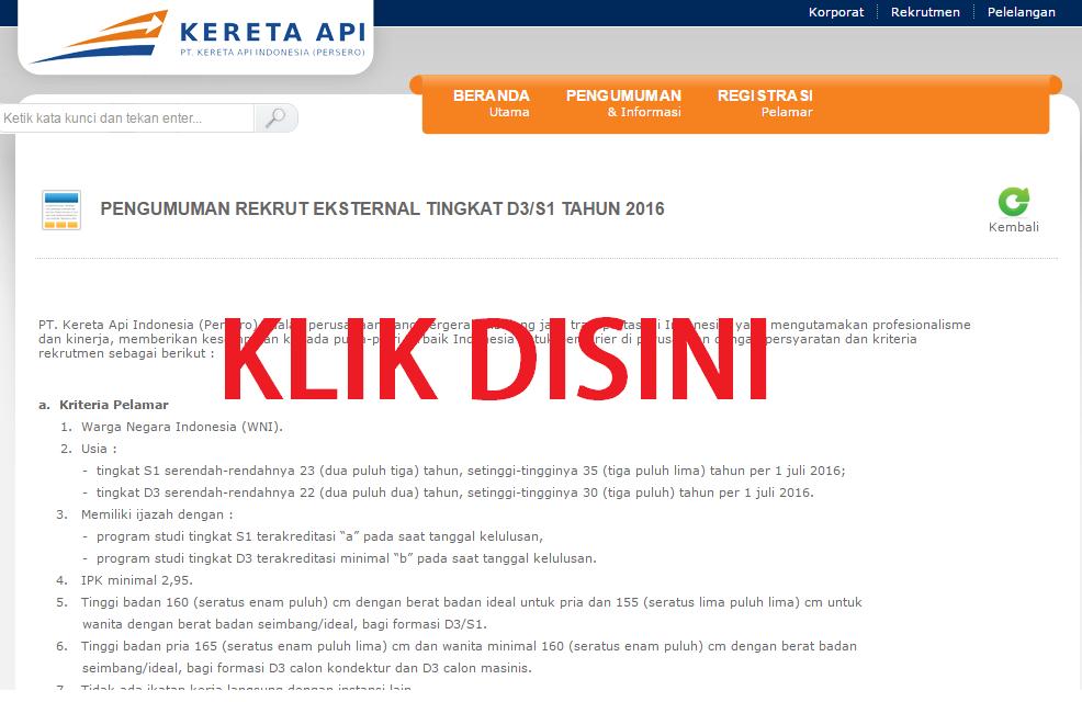 Rekrutmen KAI: REKRUTMEN PT. KERETA API INDONESIA (PERSERO) JULI 2016