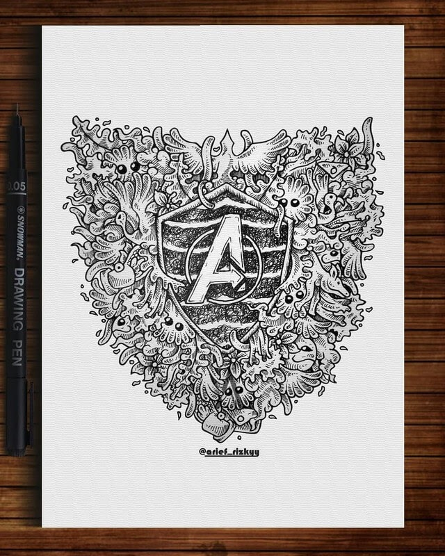 11-Avengers-Mr-A-Black-and-White-Ink-Doodles-www-designstack-co