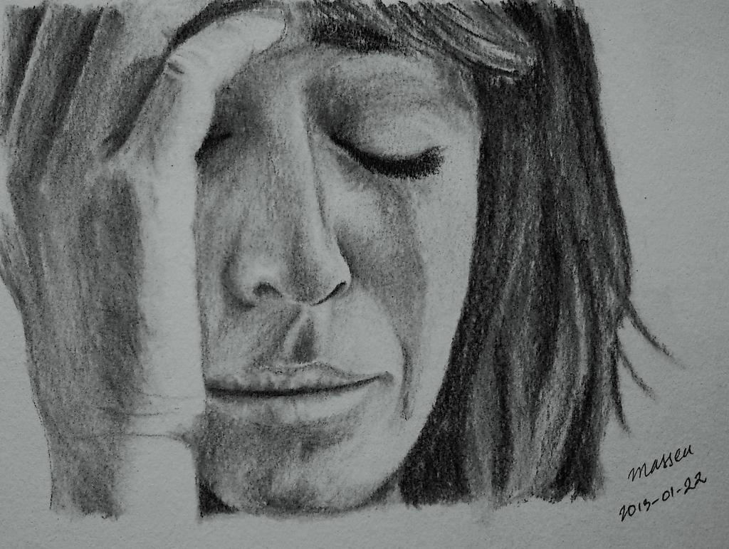 Sad woman crying sketch