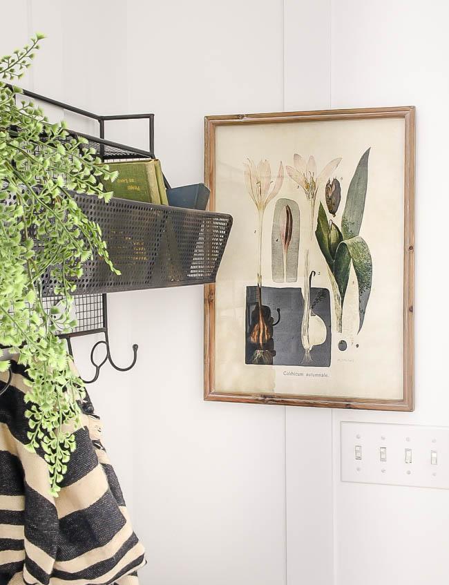 Botanical floral mudroom artwork