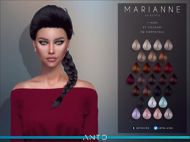 Anto - Marianne (Hairstyle) Анто - Марианна (Прическа) для The Sims 4 27 цветов работает со шляпами гладкой оснастки Автор: Anto