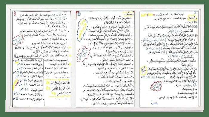 ملخصات الفصل الأول في التربية الاسلامية للسنة الثانية ابتدائي