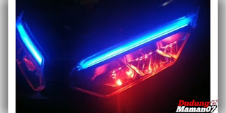 Tampilan Modifikasi Lampu LED Depan Motor