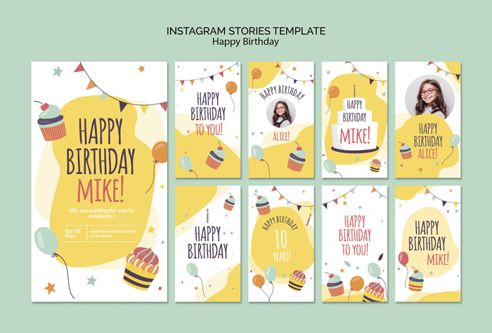 Happy Birthday Concept Instagram Stories Template