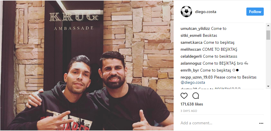 Diego Costa's latest Instagram post flooded with messages from Beşiktaş fans