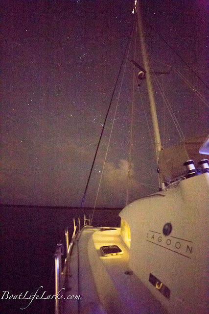 Starry night at anchor from our Lagoon 380 sailboat