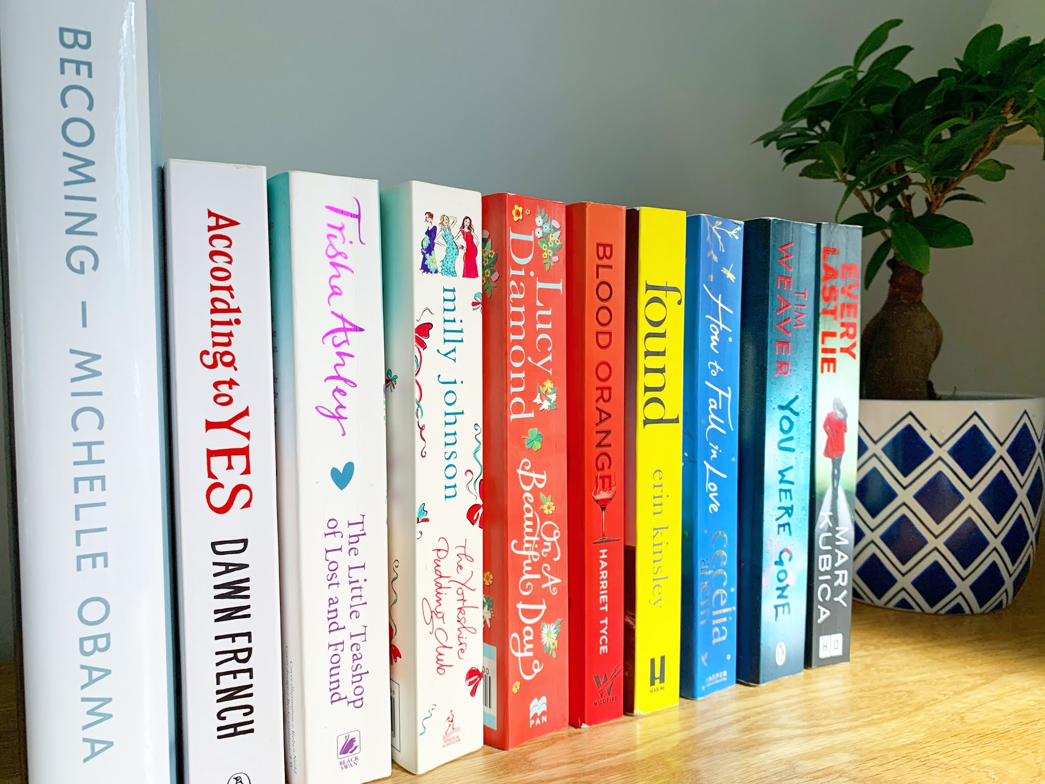 10 books lined up on a shelf on a diagonal angle