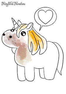 A coloring page of a cute unicorn