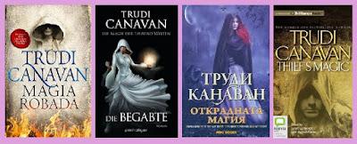 Portadas de la novela de fantasía Magia Robada, de Trudi Canavan