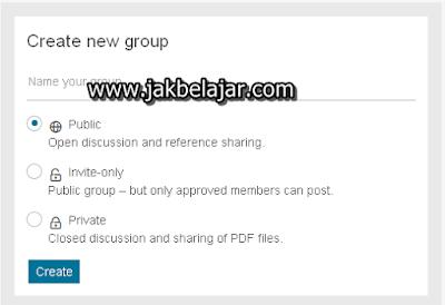 Tampilan proses memberikan nama dan jenis grup