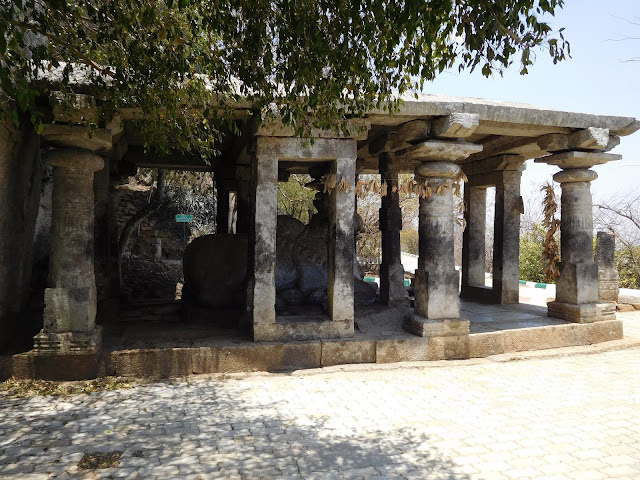 A 1300-year-old shrine of Nandi, the bull-vahana of Lord Shiva, on top of Nandi Hills