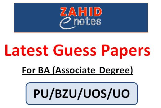 BA associate degree in arts guess paper 2021