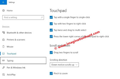 Touchpad shortcut in Windows 10