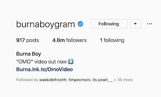 Burna Boy Unfollows Entire Fans On Instagram Except Just One Person (See Who)