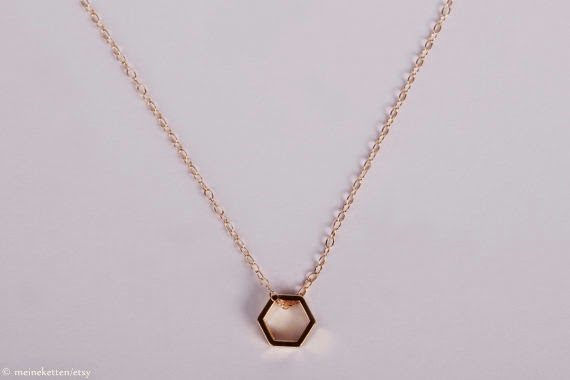 Hexagon necklace by meineketten/Johanna Rott
