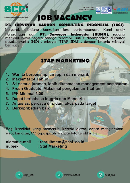 Lowongan Kerja S1 PT. Surveyor Carbon Consulting Indonesia Agustus 2019