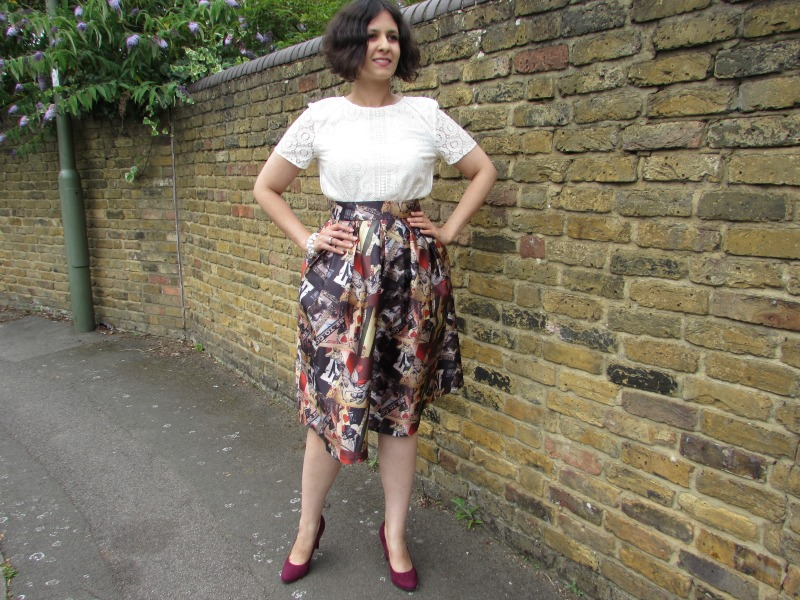 Laced top and full midi skirt