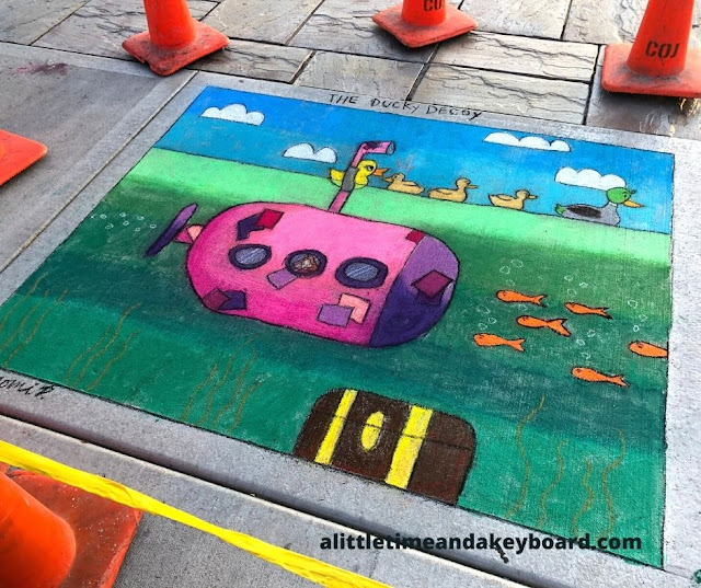 Vibrant and adorable duck chalk drawing!