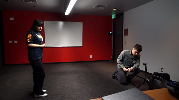 Majdolene 'MJ' Abualfaraj and Nicholas Mariano enact the first scene from THE BROKEN TABLE during a callback audition held at The Los Angeles Film School in Hollywood, CA...on October 12, 2019.