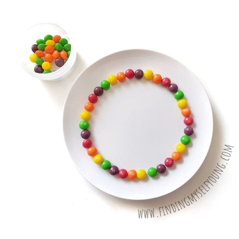 skittles lined in rainbow order around a plate