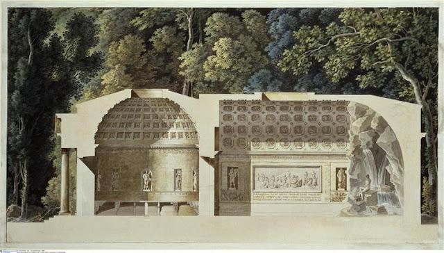 Charles Percier : Coupe transversale de la laiterie de Marie-Antoinette à Rambouillet - Berlin, Kunstbibliothek (SMPK)