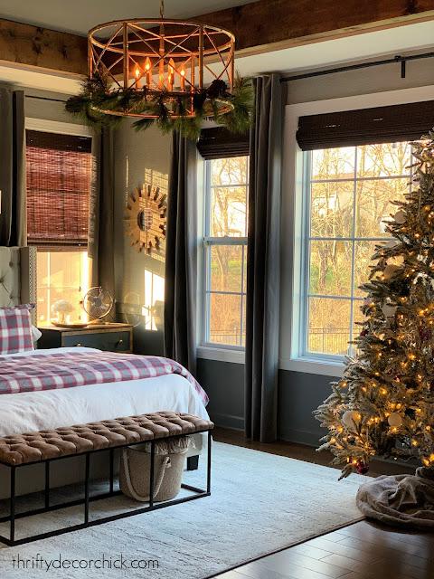 dark gray bedroom light bedding