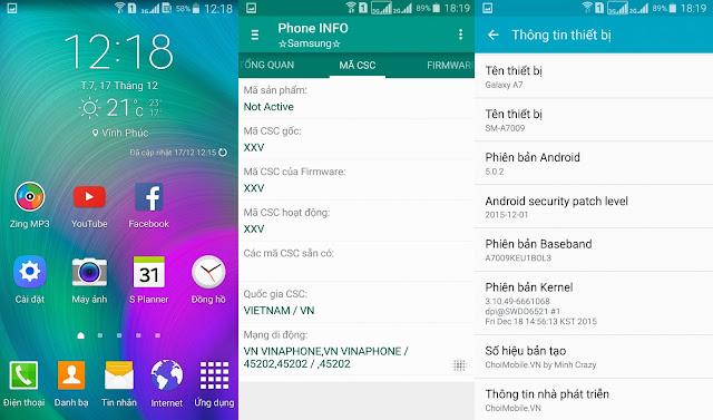 ROM Tiếng Việt Samsung Galaxy A7009 ( A7 2015 ver china )
