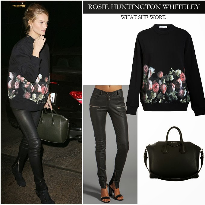 WHAT SHE WORE  Rosie Huntington Whiteley in black rose flower print ... 148123d23d723