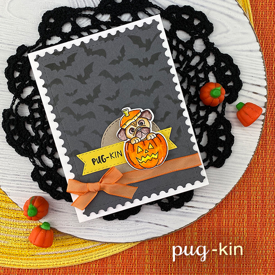 Pug Halloween Card by Jennifer Jackson | Pug-kin Stamp Set, Banner Trio Die Set, Circle Frames Die Set and Flying Bats Stencil by Newton's Nook Designs #newtonsnook #handmade