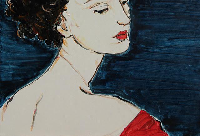 painting, close-up, detail, sarah myers, contemporary, art, portrait, woman