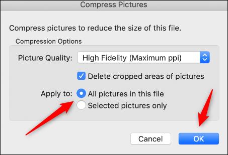 تطبيق الضغط على الصور في Mac